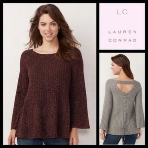 Lauren Conrad Laceup Back Swing Plum Sweater NWT